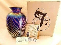 2002 Fenton FAVRENE FEATHERS Pulled Feather DAVE FETTY VASE Limited Edition