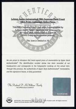 2017-18 UDA Supreme Hard Court LEBRON JAMES Auto Dual Patch Tag Game Floor #/10