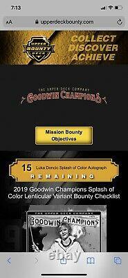 2019 Goodwin Champions Luka Doncic Splash Of Color Lenticular Bounty Auto. RARE