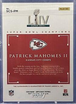 2020 Impeccable Football Super Bowl Champions 21/21 Auto Patrick Mahomes