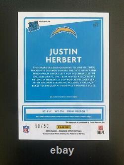 2020 Optic Football Justin Herbert #153 Rookie SP Purple Stars On Card Auto /50