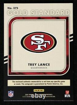 2021 Gold Standard Trey Lance RC #275 3 Jsy patch Auto #38/75