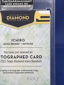 2021 Topps Diamond Icons Baseball Ichiro 10/10 Purple And Gold Auto