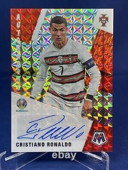 20-21 Mosaic Uefa Soccer Cristiano Ronaldo SSP Mosaic Auto Silver Red Prizm