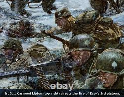 Autographed Band of Brothers print showing Carwood Lipton, Shifty Powers & more