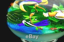BACCARAT Three birds Art Glass pacifique Lt Ed Footed Paperweight, Apr 5.25Hx5W