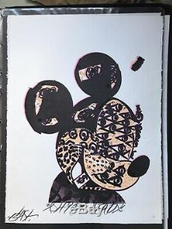 BAST MICKEY limited edition screen print, Hand Finished. POW BANKSY STIK