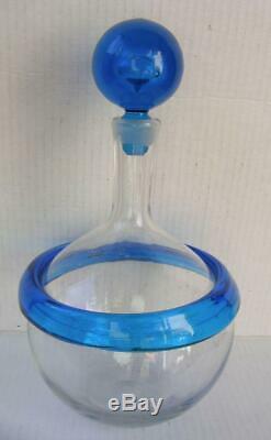 Blenko Joel Philip Meyers Signed Glass Decanter Blue Band w Stopper Vtg 60's MCM