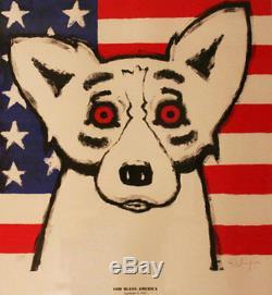 Blue Dog George Rodrigue God Bless America MAKE OFFER