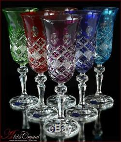 Bohemia Crystal Champagne Glasses 21 cm, 180 ml, Memfis 6 pc New