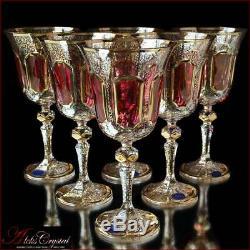 Bohemia Crystal Wine Glasses 20 cm, 220 ml, Versale Rubin 6 pc New