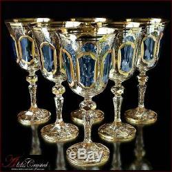 Bohemia Crystal Wine Glasses 20 cm, 220 ml, Versale Topaz 6 pc New