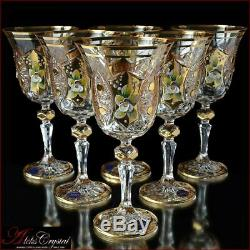 Bohemian Crystal Wine Glasses 20 cm, 220 ml, Shaherezada Gold 6 pc New