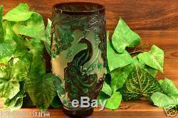 Cameo Vase Concord Peacock Cranberry Green Crystal (CC10046) Chris Carpenter