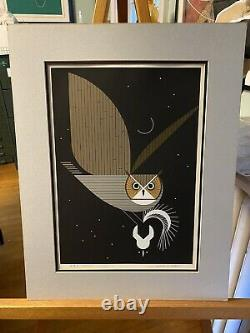 Charley Harper Signed Limited Edition Serigraph Pfwhooooo Owl And Skunk 1975