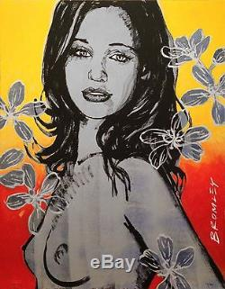 DAVID BROMLEY Nude Gillian With Flowers Signed Limited Edition Print, 70 x 55