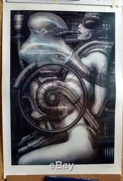 H. R. Giger signed limited edition print huge and rare print Biomechanoid