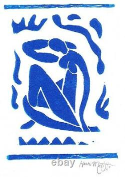Henri Matisse Print Blue Nude Hand-Signed Limited Edition Linocut with COA