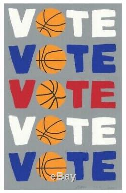 Jonas Wood VOTE Signed Numbered Limited Edition Screen Print Basketball Color