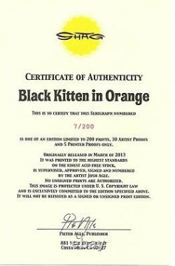 Josh Shag Agle Black Kitten In Orange art poster serigraph print