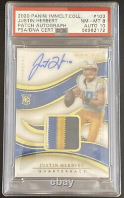 Justin Herbert 2020 Panini Immaculate Rc Auto Patch Rpa /99 Psa 8, Auto 10