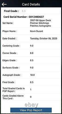 Kevin Durant 2007-08 Upper Deck Premier Stitchings ROOKIE /5 BGS 8.5 Auto 10