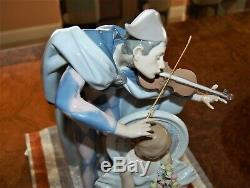 Lladro #5932. Jester Serenade. Signed Limited Edition WithBase. Large 14.5H. 1989
