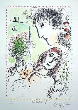 MARC CHAGALL Hand Signed 1983 Original Color Lithograph Tendresse