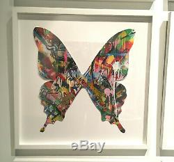 Martin Whatson Butterfly Cutout Hand Painted Signed Original Art Piece Framed