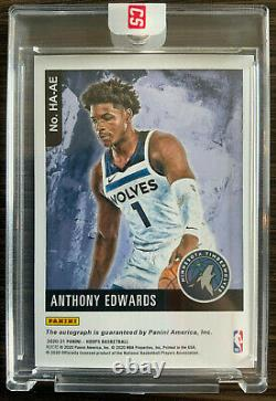 NBA Hoops Anthony Edwards Rookie Auto Hoops Art SSP RC 1st ON CARD HOLO SEALED