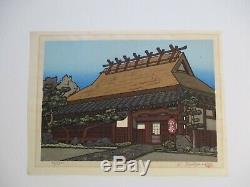 Nishijima Pencil Signed Woodblock Print Limited Edition Temple Landscape Vintage