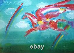 PETER MAX Signed 1981 Original Color Lithograph Bluegrass Pegasus