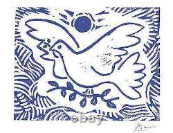 Pablo Picasso Hand Signed Ltd Edition Print Blue Dove of Peace withCOA(unframed)