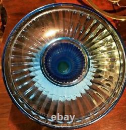 RARE Fenton Aladdin 1994 Grand Vertique Table Lamp Twilight Blue Complete