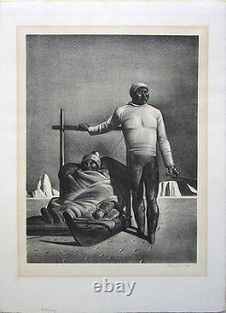 ROCKWELL KENT Signed 1933 Original Lithograph Sledging (Greenland Travelers)