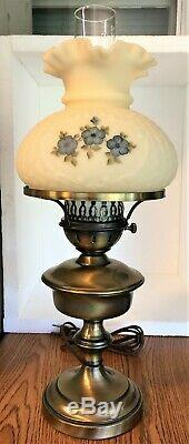 Rare Fenton 1980 5 Petals Blue Dogwood Cameo Satin Custard Basket Weave Lamp
