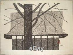 Rare KIYOSHI SAITO Signed 1962 Original Woodblock Print Castle