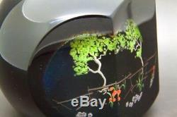 STUART ABELMAN Trees & Moon Art Glass Faceted LT ED Paperweight, Apr 3.5Hx3.5W