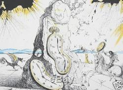 Salvador Dali Original Signed Lithograph Cosmic Rays Resuscitating Soft Watches