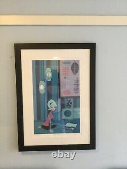 Shag Josh Agle Retro Blue Miles Vinyl Record Hi-Fi Serigraph Framed Art Print