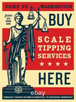 Shepard Fairey Scale Tipping Obey Giant S/N 2014 Rare Political Art