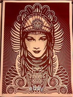 Shepard Fairey Signed 2007 Peace Goddess -Burgundy- 103/150