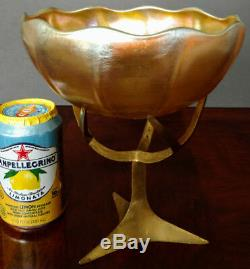 TIFFANY FAVRILE Art Glass Gold C. 1894 Old Huge Bowl rare w-Bronze stand