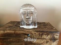 VINTAGE Erik Hoglund signed Pukeberg Glassworks Man Woman Sculptures, c. 1980